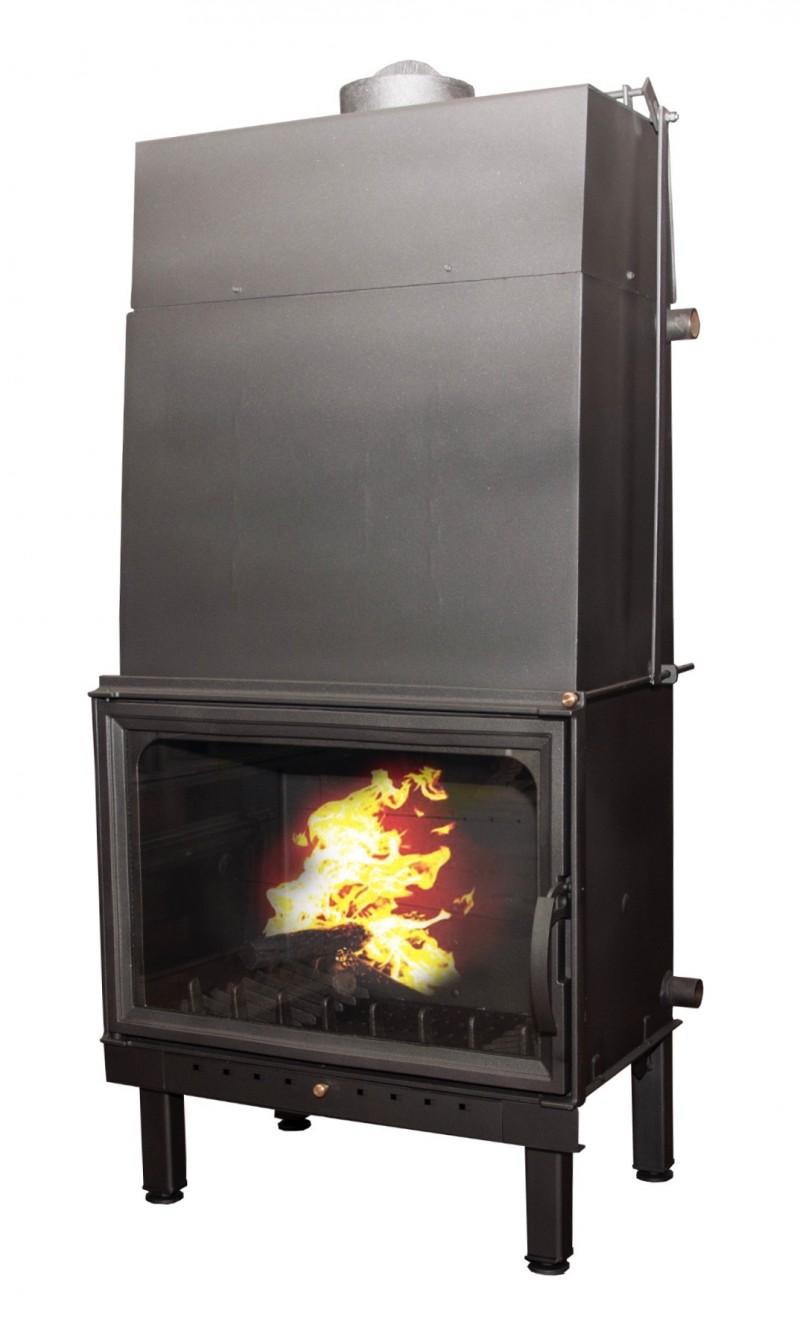 Termosemineu pe lemn tip insert Carla Aqua+ 33 kW vedere fata cu foc