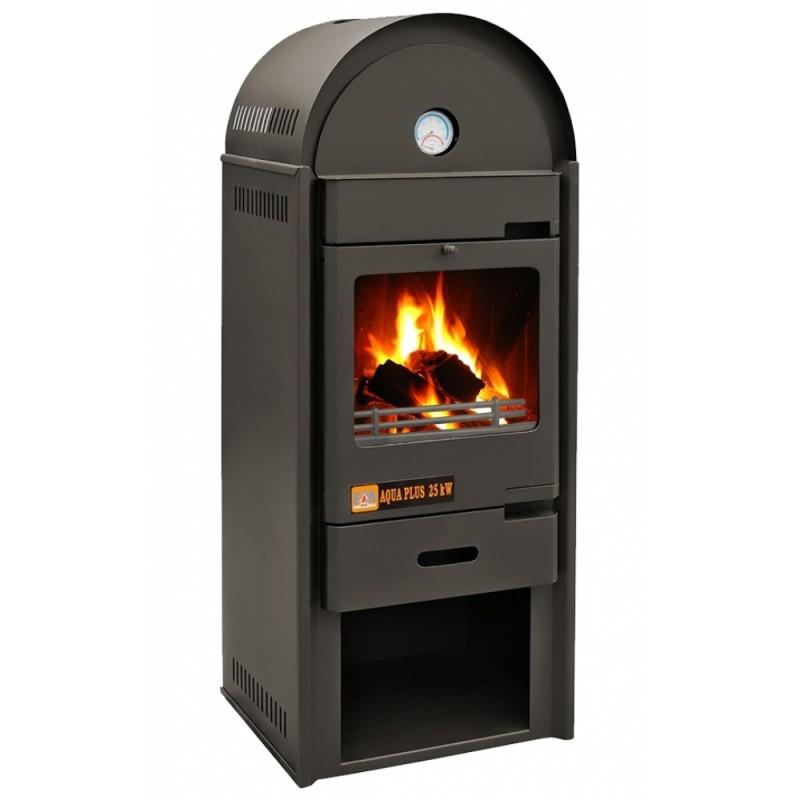 Termosemineu AQUA PLUS 25 kW vedere fata cu foc