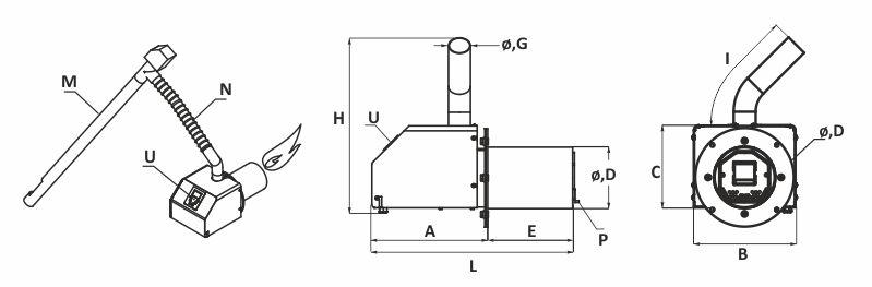 Arzator de peleti BURNIT PELL ECO - schema - pentru dimensiuni, vezi datele tehnice
