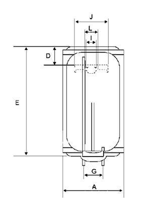Boiler electric BANDINI BRAUN SMART - schema (pentru dimensiuni vezi pliantul)