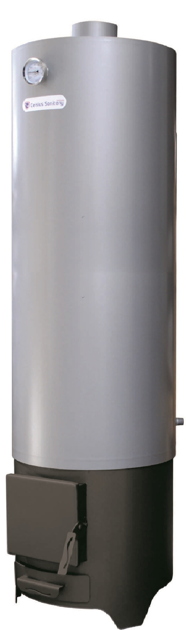 Ansamblu boiler pe lemn cu focar rotund FM tabla vopsita 120 litri