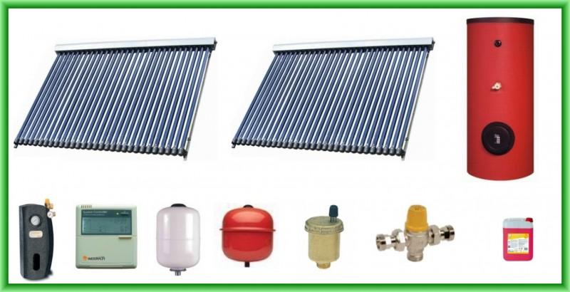 Pachet solar cu doua panouri cu 30 de tuburi vidate si boiler bivalent de 400 litri