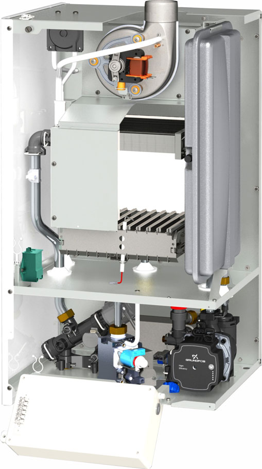 Centrala termica pe gaz cu tiraj fortat MOTAN CLASIC 24 kW - vedere interioara piese componente