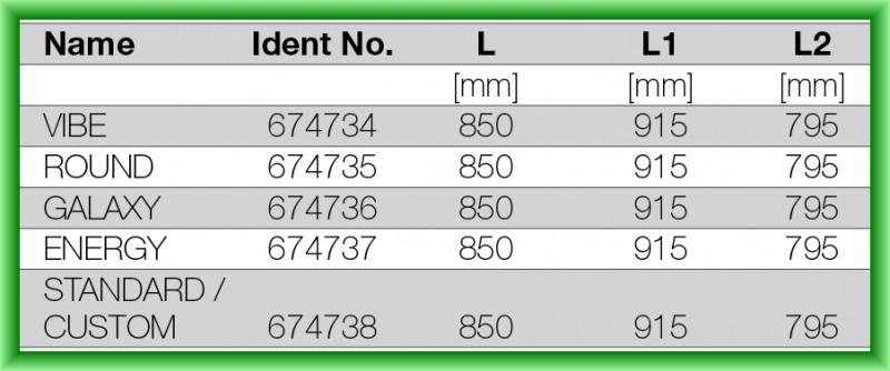 RIGOLA DE SCURGERE PENTRU DUS LIV 850 - tabel cu dimensiuni