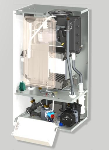 Centrala termica in condensatie CONDENS 050 24 kW - vedere interioara, fara capac