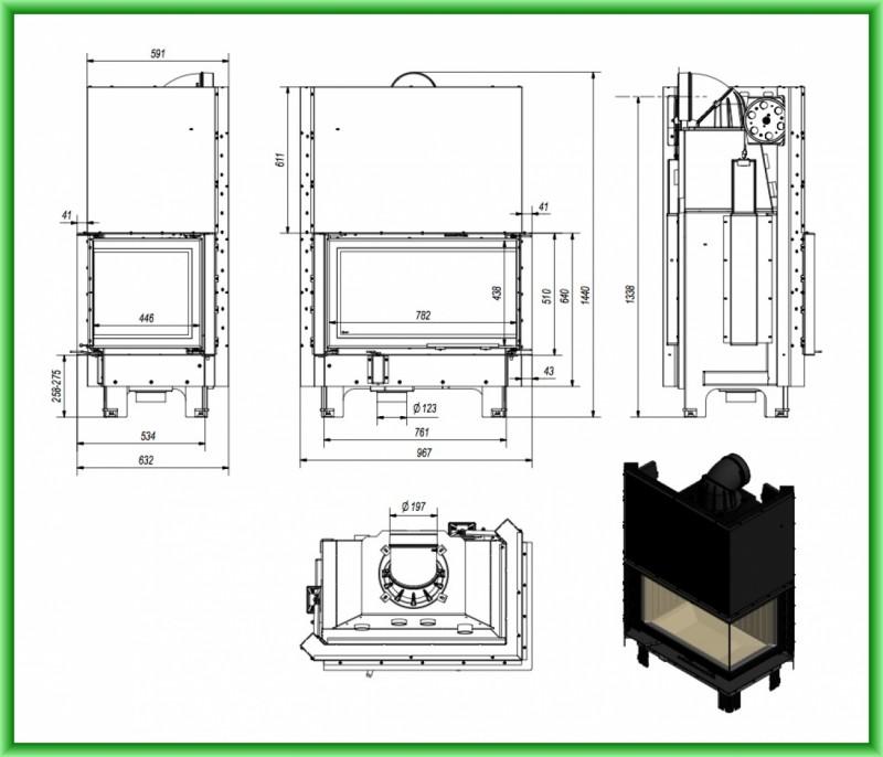 Semineu tip insert MBO 15 cu geam pe doua laturi si usa tip ghilotina 15 kW - desen tehnic