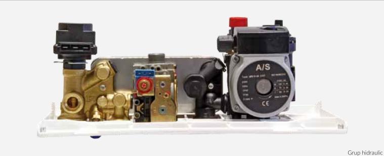 Centrala termica pe gaz ARCA PIXEL 25F - grup hidraulic cu vana cu 3 cai actionata electric