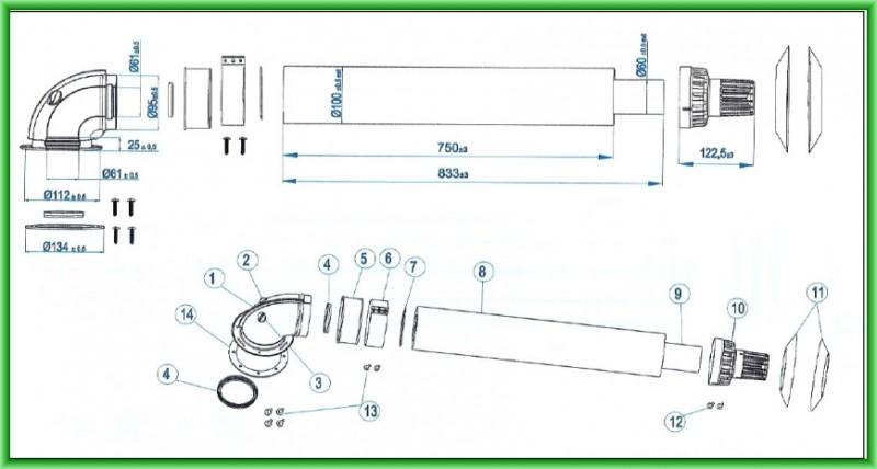 Kit de evacuare coaxial pentru centrale termice pe gaz clasice Motan Ø 60/100x1000 mm - desen tehnic