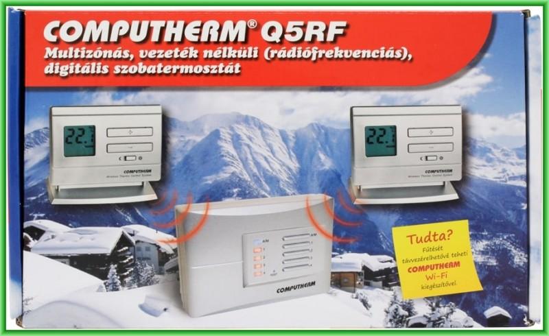 Termostat  multizonal Computherm Q5RF wireless (fara fir), neprogramabil  - pachet de baza cu 2 termostate