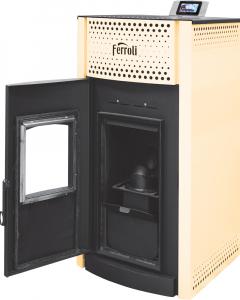 Termosemineu pe peleti Ferroli SALERNO PELLET 30 kW - cu usa deschisa