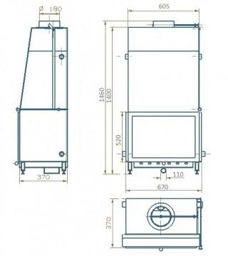 Poza  Termosemineu pe lemn tip insert Carla Aqua+ 33 kW desen cu dimensiuni de gabarit