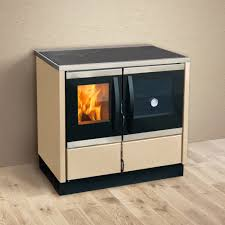 Poza Soba de gatit pe lemn cu incalzire centrala Thermo Rocky ECO 22 kW - crem, racord la cos pe dreapta