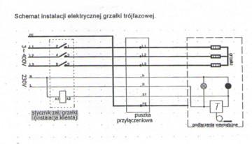 Poza Rezistenta electrica trifazata 9 KW cu termostat - schema electrica