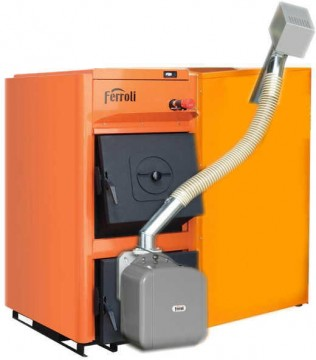 poza Centrala termica pe peleti Ferroli FSB PRO 35 kW cu arzator de peleti SUN P7 si rezervor de peleti 195 litri