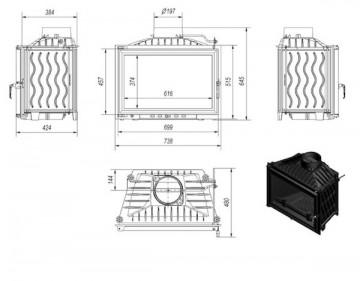 Poza Focar de semineu din fonta W140 14 kW - dimensiuni de gabarit
