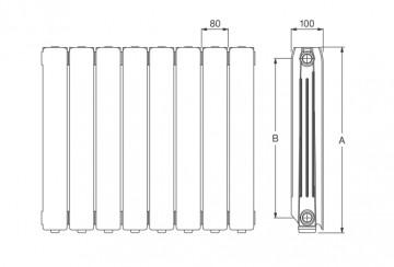 Poza  Radiator din aluminiu Ferroli Nereos 700 HP - dimensiuni de gabarit