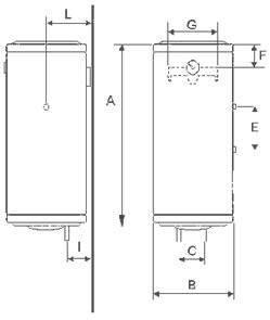 Poza Boiler electric BANDINI BRAUN SLIM - schema montaj (pentru dimensiuni vezi pliantul)
