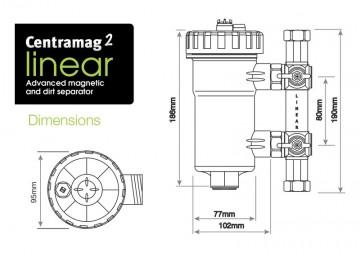 Poza Filtru dual pentru impuritati magnetice si nemagnetice CENTRAMAG 2 INLINE DN 22 mm - desen tehnic