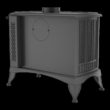 Poza Soba-semineu pe lemn din fonta K9 10 kW cu regulator automat de tiraj - vedere din spate