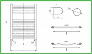 Poza Radiator port-prosop FERROLI TALIA drept alb - desen tehnic