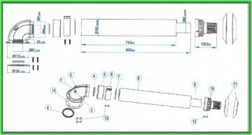 Poza Kit de evacuare coaxial pentru centrale termice pe gaz clasice Motan Ø 60/100x1000 mm - desen tehnic